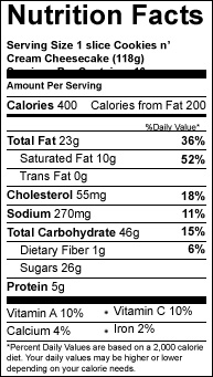 cookies n cream slice variety cheesecake nutrition-facts