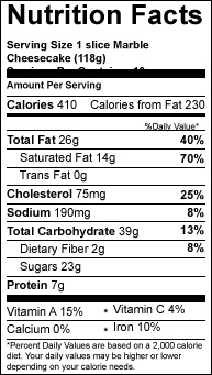 marble slice variety cheesecake nutrition-facts