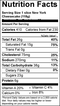 nyc slice variety cheesecake nutrition-facts