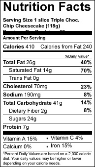 triple choc chip slice variety cheesecake nutrition-facts